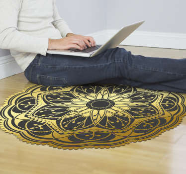 Use this fantastic golden effect flower mandala vinyl rug for decorating the rooms of your home in a really beautiful way!