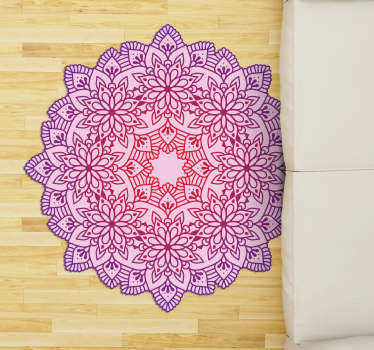 With this elegant flower colorful mandala vinyl rug you will be able to improve incredibly the impact of your rooms in an easy and cheap way!