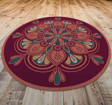 Decorative Indian mandala vinyl carpet to put in the place of your house that you want! Washable and very resistant product!