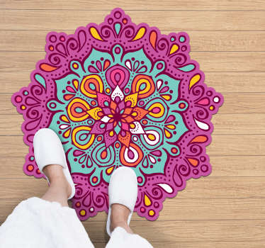 Colourful mandala vinyl rug to decorate your house with exclusivity and a design that everyone will envy! +10,000 satisfied customers.