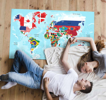 Have you thought about combining decoration and education? With this vinyl carpet world map you can travel anywhere! Personalised stickers.