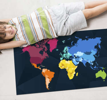 If you like geography, here is an incredible vinyl world map to put on your floor and enjoy an incredible decoration This design is of great quality!