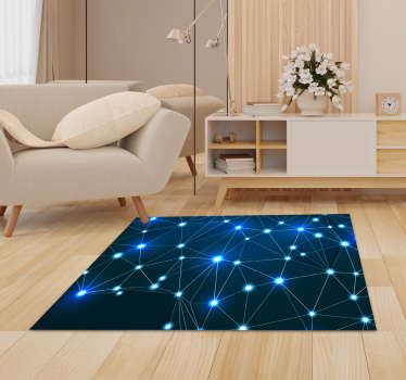 Discover the beauty of this wonderful polygonal twinkles map vinyl rug and start to improve your house decor  in a revolutionary way!