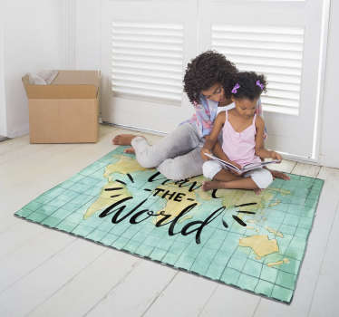 Take a look at this fantastic world map vinyl rug about travel and start imagining how many uses it can have in your house!