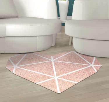 Estupenda alfombra vinílica minimalista con corazón rosa para que decores tu casa de forma original. Producto de calidad y lavable