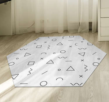 Rompedora alfombra vinílica minimalista estilo memphis para que decores tu casa con un diseño vanguardista. Producto de calidad y lavable