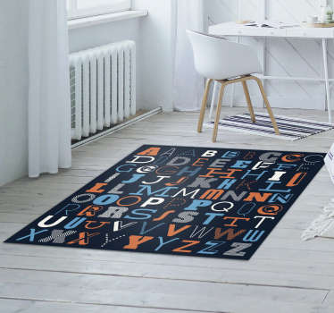 Alphabet vinyl carpet with which you can decorate your house with a unique style that will surprise you and leave all your visitors amazed!