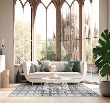 Increíble alfombra vinílica miscelánea panot de Barcelona para que decores tu casa mientras expresas tu encanto por la Ciudad Condal.