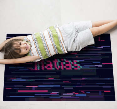 Incredible modern vinyl carpet with a name for you to decorate your room in a personal way! Glitch art is groundbreaking and novel!