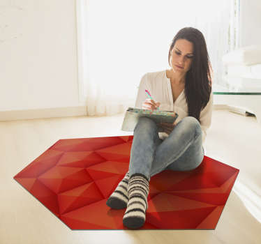 Modern vinyl carpet with a hexagonal shape and red colour so that you can enjoy a magnificent design in the room of your house!