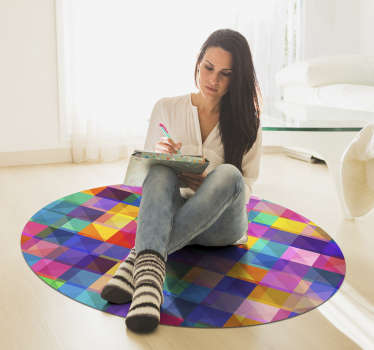 Explore the many ways this great modern colored mosaic vinyl rug can radically trasform the visual impact of your whole house!