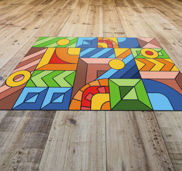 Look at the beauty of this amazing colored abstract mosaic vinyl rug! You can have this great object at a really low price right now!