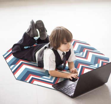 Exclusiva alfombra de vinilo nórdica con rayas de colores que te aportará una decoración que no te va a dejar indiferente. Producto lavable