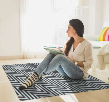 Use this stunning nordic style zig zag vinyl rug to drastically improve the aspect of any room of your house! Anti-bubble vinyl.