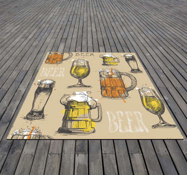 This vintage vinyl rug is great to put in the home of those who are passionate about this great drink, and also for businesses!