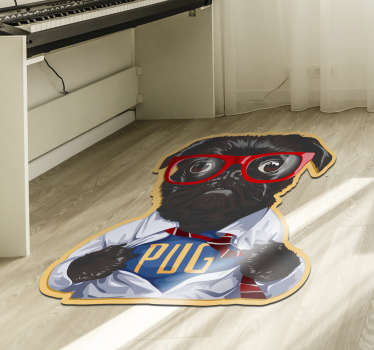Incredible vintage vinyl carpet with the image of a black dog with glasses and with a dress of the 20th century ! Extremely long-lasting material.