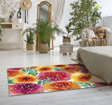 Magnificent vintage vinyl carpet with different colorful flowers that can be part of your decoration ! Extremely long-lasting material.