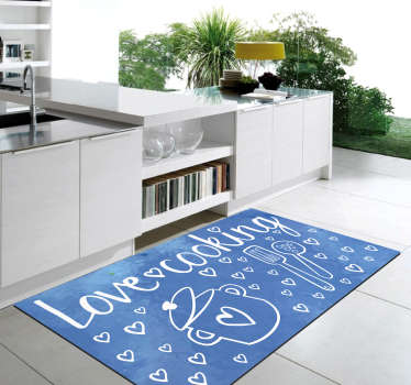 Exclusive vinyl carpet with text to put in your kitchen and with which you can reflect your personality ! Easy to apply.