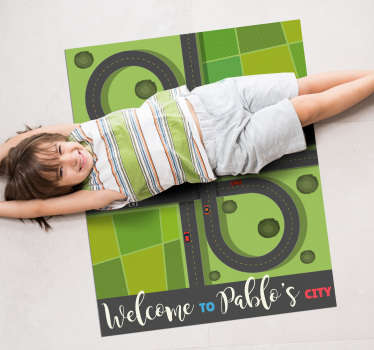 Use this amazing kid's city with name vinyl rug to decorate your son's bedroom in a really great way! He will get a special object with several uses!