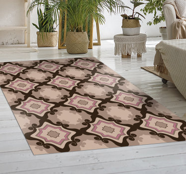 With his marvellous barroque tiles vintage vinyl rug you will be able to drastically improve the aspect of every room of your house!