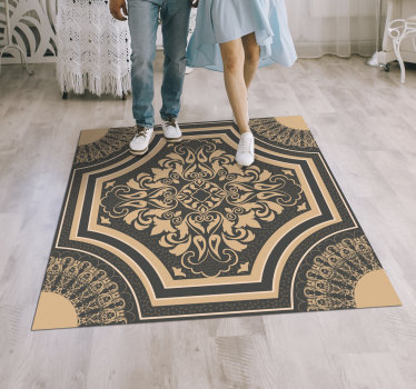 Take a look at this  fantastic barroque style vintage vinyl rug and fall in love with this innovative and new way to decorate your house!