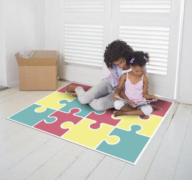 Maravillosa alfombra de vinilo infantil de puzzle colorido con la que podrás decorar la habitación de tus hijos de forma especial con un diseño que adorarán.