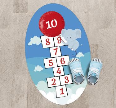 Fam marelle? Nous vous proposons ici un tapis en sticker jeu de marelle d'éléphant pour décorer votre chambre ou la chambre de votre enfant avec une touche exclusive!
