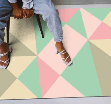 This wonderful soft colors geometric vinyl rug  can help you a lot in changing drastically the impact of your house with a simple and esay way!
