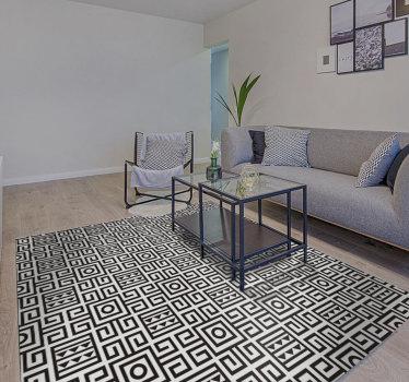 ¡Esta magnífica alfombra vinílica geométrica en blanco y negro es algo realmente especial que no se puede encontrar tan fácilmente! ¡Pídala ahora mismo!