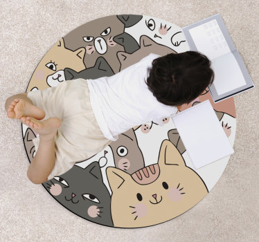 This marvellous round cats kids vinyl rug is the ultimate solution for improving greatly all the decoration of your kid's room!