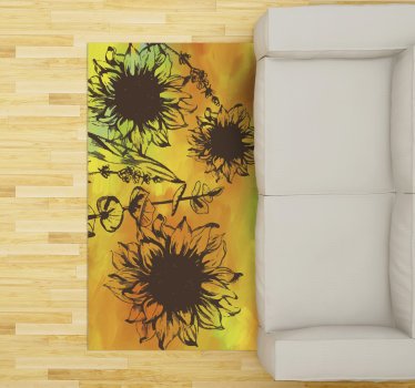 Try this fabulous colorful flower vinyl living room rug and you will see how much different would appear your rooms in your house!
