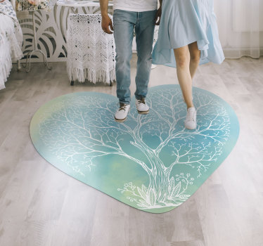 This heart shaped colorful tree vinyl bedroom rug can be the ultimate choice for making a real difference in your house decor!