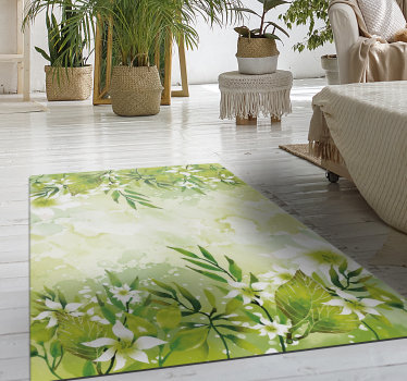 Thanks to this amazing floral motifs vinyl bedroom rug  you will be able to renew drastically the visual impact of all your house decor!