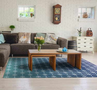 This stunning blue geometric vinyl rug is exactly is the best choice for decorating  your living room in a really fabulous way!