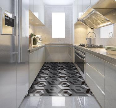 Obdélníkový geometrický vinyl koberec k ozdobení podlahy vašeho domu a dát mu exkluzivní, ale exotický styl! Dostupné slevy.
