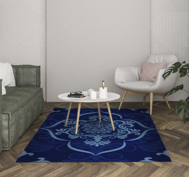 This marvellous rectangular blue mandala vintage vinyl rug is a really fantastic way of decorating your house with just a little expense!