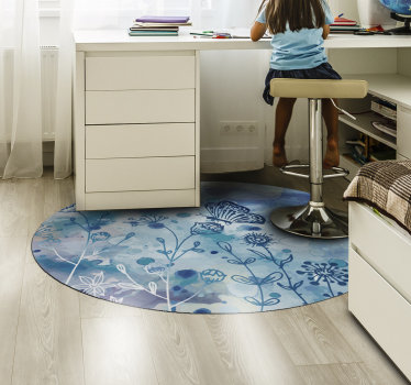 This stunning round blue butterflies vinyl bedroom rug is what you need to bring in your house a fantastic visual element!