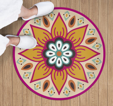 Why don't you consider to use this gorgeous round flower mandala vinyl rug for getting in your house a very incredible visual element
