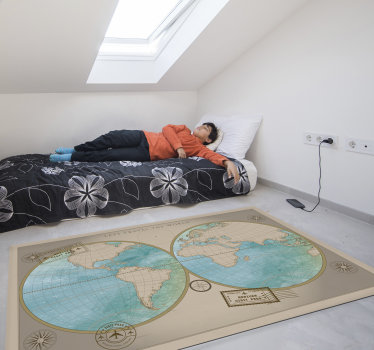 This fantastic vintage frame world map vinyl rug is the best gift you can make to your children! Make them learn geography in an easy and funny way!