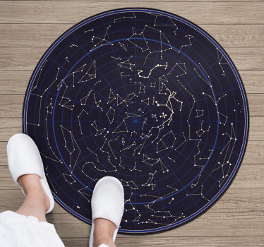 This wonderful round zodiac costellations vinyl rug is a great choice if you want to bring in your house something really special!
