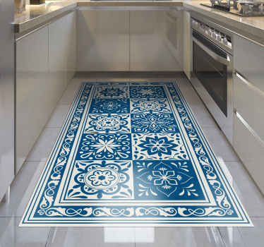 Admire the unique beauty of this amazing classic blue tiles vinyl kitchen mat! You have found the best solution for improving your kitchen!
