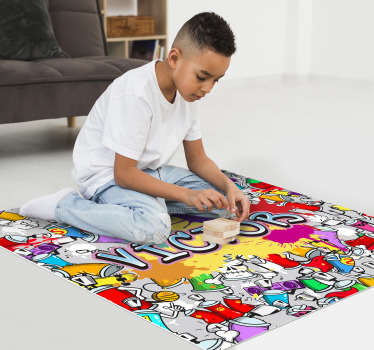 Make your child's name stand out with this beautiful graffiti vinyl carpet design with a gravity name background! Extremely long-lasting material.