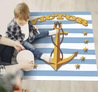 Dieser personalisierte anker-kinder-vinylteppich mit namen kann ihnen bei der dekoration ihres kinderzimmers sehr helfen! Hochwertiges vinyl!