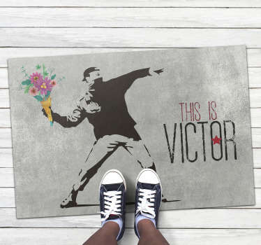 Let's bring in your house this great Bansky flower bouquet vinyl rug with name! You will convey a really positive message also in your kid's  room!