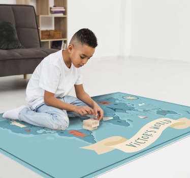 This funny vinyl world map rug with name is the ultimate choice you can do for making happy your children and for avoiding to make sad your wallet!