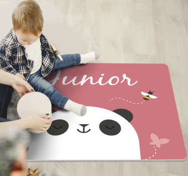 This personalized panda kids vinyl rug  is exactly what you need to improve dramatically the aspect of your kid's bedroom!