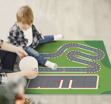 Check out our fabulous personalized racing track kids vinyl rug and donate to your child something really special and unique!
