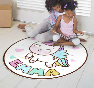 Don't waste your time and bring in your home this fabulous unicorn girl vinyl rug  which is capable of changing completely your kid's bedroom!