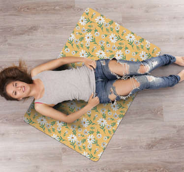 Use this 70's Daisy flower yellow background vinyl rug and you will see how simple can be improving the aspect of your house decor!