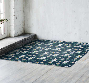 Bring home this 70's daisy flower vinyl living room rug and improve drastically the visual impact of your house! Sign up for 10% off.